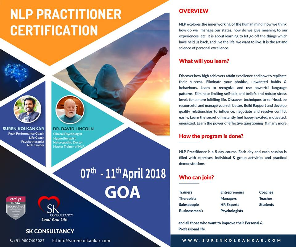 nlp practitioner Nlp practitioner workshop is designed to enable participants to practice the skills of nlp and coaching certified nlp practitioner in india, nlp india.